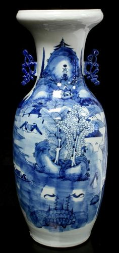 ANTIQUE CHINESE BLUE & WHITE PORCELAIN VASE Antique Chinese hand painted blue & white porcelain phoenix tail vase with coastal village scene. 19th century.