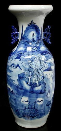 ANTIQUE CHINESE BLUE & WHITE PORCELAIN VASE Antique Chinese hand painted blue & white porcelain phoenix tail vase with coastal village scene. 19th century.