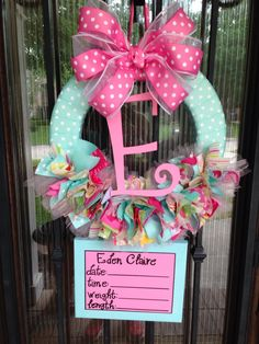 Baby Ribbon Wreath Nursery Hospital Door Kumari por JoowaBean I want something like this but of course most likely a different letter and colors depending on the gender. Baby Door Wreaths, Hospital Door Wreaths, Baby Shower Wreaths, New Baby Wreath, Ribbon Wreaths, Tulle Wreath, Floral Wreaths, Burlap Wreaths, My Baby Girl