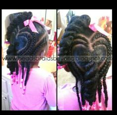 BEADS BRAIDS & BEYOND / CUTE LITTLE GIRL HAIRSTYLES / BRAIDS / PROTECTIVE HAIRSTYLE / HAIRSTYLES / KIDS / BOW  / CORNROLLS / HAIRDO / UPDO / GIRL / PLATS / HEART DESIGN / HAIR BEADS