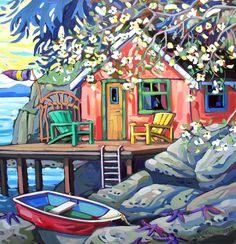 Victoria, BC ~ Greta Guzek ~ Dogwood Dream done in acrylics -but can imagine it in pastels! Acrilic Paintings, Arte Pop, Naive Art, Beach Art, Artist Art, Landscape Art, Painting Inspiration, Collage Art, Sculpture Art