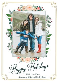 Winter Floral Frame Holiday Photo Cards