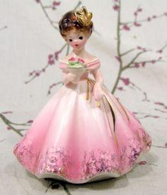Josef Originals Pink Dress Girl Figurine Red Flowers