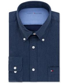 Tommy Hilfiger Men's Slim-Fit Comfort Wash Untucked Blue Solid Dress Shirt - Blue L