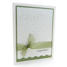 Wedding Card Handmade White Damask by EmbellishbyJackie on Etsy