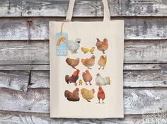 Chickens Fair Trade Tote Bag Reusable Shopper Bag Cotton Tote Shopping Bag Eco Tote Bag by ceridwenDESIGN http://ift.tt/1qBqUQb