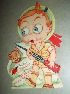 Valentines Day Card Hunter Boy with gun 1939