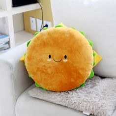 "Hamburger Plush Cushion 16"" Cotton Food Figure Toy Doll King Burger Kawaii Cute 