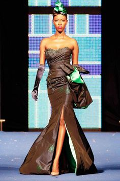 A model wears a creation by Cameroonian designer Martial Tapolo  été 2012