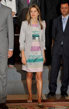 Love this striped dress paired with a jacket with the sleeves pushed up on Princess Letizia of Spain.