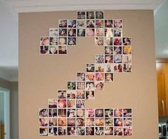 Photo collage made up of pictures from the previous year in shape of child's age for birthday.