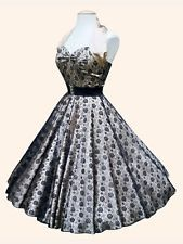 1950s Vivien of Holloway Champagne Lace Valentine Rockabilly Pin-Up Swing Dress