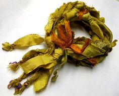 Textile Bracelet, Fabulous recycled sari silk fashioned into a boho style bracelet, wraps 3 times, button closure, chartreuse bead accents