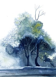 "Using what's called ""blooms"" in watercolour for painting a tree.. love it!"