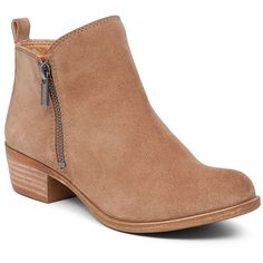 Lucky Brand Basel Flat Bootie ($120) ❤ liked on Polyvore featuring shoes, boots, ankle booties, short boots, leather boots, ankle boots, low heel ankle boots and flat leather booties