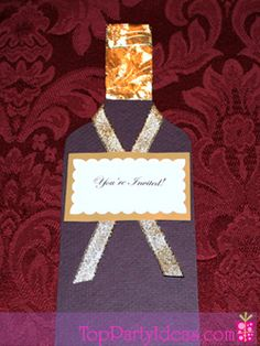 Create your own custom Wine Bottle Invitation for a fun Wine Tasting party! This Wine Bottle Invitation is made out of card stock, gold ribbon, gold damask foil, and elegant labels. Just follow these simple instructions for this easy craft project. Wine Bottle Party Invitations are great for any Wine Tasting Party, Wedding, Engagement Party, or any other Celebration. ~ Download the Free Wine Bottle Template!