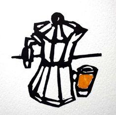 coffee pot  handpainted linocut print by FleurRendell
