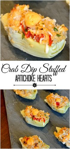 Crab Dip Stuffed Artichoke Hearts: Spicy aioli, sweet crab and crunchy panko come together for a simple, yet sophisticated hors d'oeuvre. Appetizer Dips, Appetizer Recipes, Simple Appetizers, Wedding Appetizers, Yummy Appetizers, I Love Food, Good Food, Yummy Food, Tasty