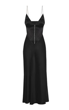 Claire Button-Detailed Satin Maxi Dress by Anna October Dress Outfits, Dress Up, Fashion Outfits, Dress Fashion, Casual Dresses, Look Fashion, High Fashion, Fashion Details, Mode Dope