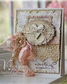 handmade card ... Vintage style ... shabby chic ... crochet flower and lace ... beautiful ....