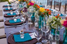 Los Cabos Wedding Planners, Creative Destination Events is more than just another Cabo wedding planning company. among the best wedding planners mexico Outdoor Wedding Reception, Reception Table, Wedding Reception Decorations, Wedding Receptions, Table Decorations, Whimsical Wedding Theme, Teal Table, Bright Flowers, Flower Centerpieces