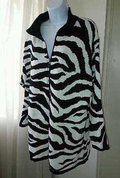 DVF Diane Von Furstenberg Women Sweater Coat Plus 2X Zebra Print Black White Zip