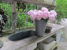 Potting Bench with Sink | potting bench, love the outdoor sink