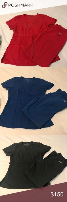 SPECIAL 2 SET BUNDLE 🎉 GREY's ANATOMY SCRUB SETS The most comfortable and flattering scrubs you'll ever wear!  Retails @ $60/set.  🔥🔥🔥$75 takes them all!!! 🔥🔥🔥 Worn in medical office setting for a year. -no patient contact.   Charcoal set , blue set , and burgundy top XS  *i don't have the bottoms to the burgundy top Grey's Anatomy Other