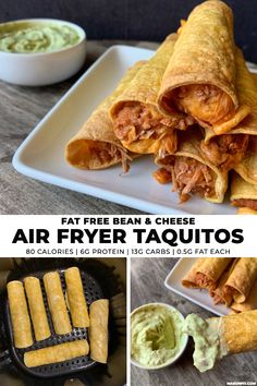 If you like simple recipes, you'll love these air fryer taquitos filled with fat free refried beans and cheese. Pairing them with a lower calorie guacamole dip makes for a perfect snack or appetizer under 100 calories Smart Points each). Air Fryer Recipes Potatoes, Air Fryer Recipes Low Carb, Air Fryer Recipes Breakfast, Air Fryer Dinner Recipes, Recipes Dinner, Guacamole Dip, Healthy Recipes, Mexican Food Recipes, Simple Recipes