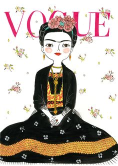 illustration by maria hesse of frida kahlo Maria Hesse, Frida Kahlo Portraits, Frida And Diego, Frida Art, Boho Stil, Diego Rivera, Vogue Magazine, Grafik Design, Fashion Art