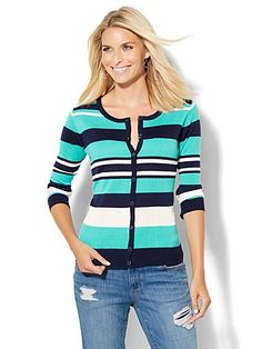Shop 7th Avenue Design Studio - Crewneck Chelsea Cardigan - Stripe . Find your perfect size online at the best price at New York