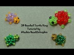3D beaded turtle ring - YouTube