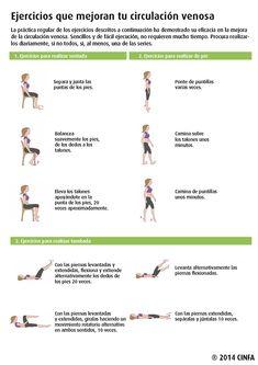 Mejora tu circulación venosa con estos ejercicios. Son sencillos y, además, algunos de ellos los podrás hacer mientras trabajas. #CinfaSalud #piernas #IVC #varices