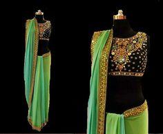 Green and Blue shaded Bamber Saree