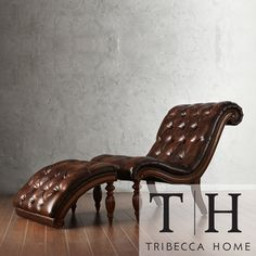 TRIBECCA HOME Bellagio Classic Brown Bonded Leather Tufted Chaise with Ottoman