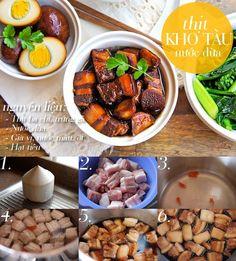 Món ăn: Thịt kho tàu nước dừa Nguyên liệu: - Thịt ba chỉ - Trứng gà - Nước dừa - Gia vị: nước màu, ớt, hạt tiêu, đường, xì dầu Cách làm: Đầu tiên, bạn lấy