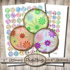 Spring Pattern, Digital Collage Sheet, 1 inch, 0.8 inch Circles, Pastel Digital Paper, Floral Jewelry Images, 20 mm, 25 mm Circles, d3 Diy Jewelry, Unique Jewelry, Pattern Mixing, Collage Sheet, Digital Collage, Circles, Pastel, Joy, Button
