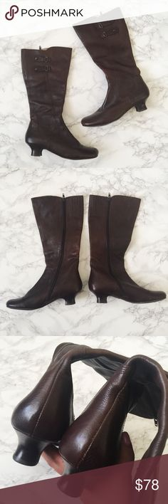 "Biviel Brown Leather Tapered Heel Boots Brown pebbled leather boots with inner side zipper. Round toe, 1 1/2"" heel. Leather lined. Gently used with lots of life left. Anthropologie Shoes Heeled Boots"