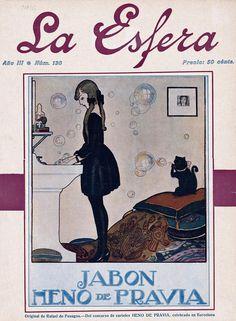 Rafael de Penagos, illustration for the perfumery Floralia,  reproduced on the cover of La Esfera, 1926