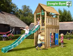Image result for wooden playhouse and climbing frames