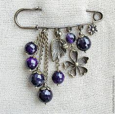 Брошь-булавка с аметистом - тёмно-фиолетовый,брошь с камнем,брошь с аметистом