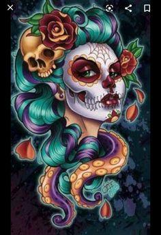 Sugar Skull Mädchen, Sugar Skull Artwork, Sugar Skull Tattoos, Cartoon Kunst, Cartoon Art, Cartoon Faces, La Muerte Tattoo, Art Chicano, Street Art