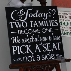Wedding signs/XXLarge Today Two Families by gingerbreadromantic