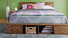 13 Free DIY Bed Plans for Adults and Children: Free Platform Bed Plan With Storage from Lowe's