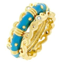 Gold Plated Aqua Enamel Ring Band Eternity Stackable Cubic Zirconia Size 10  #Unbranded #Eternity