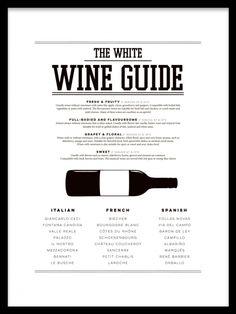 Poster med wine guide till köket, vita viner. (EJ JULKLAPP)