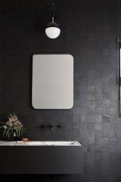 Modern Bath Black Wood Walls