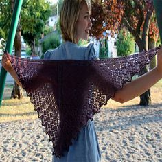 "Four Hundred is a classically designed top-down triangular shawl. A fantastic shawl done with 400 Yds of Buffalo Wool Tracks Yarn (sample shown in Marsala color) It starts from a small ""tab"" at the ba"