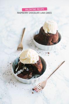 Raspberry Chocolate Lava Cakes  Read more - http://www.stylemepretty.com/living/2014/02/06/raspberry-chocolate-lava-cakes/
