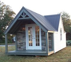 Gratitude Millworks' portable cottage: 180 square feet, roof footprint 12 x 24 with a 5 x 11 porch.
